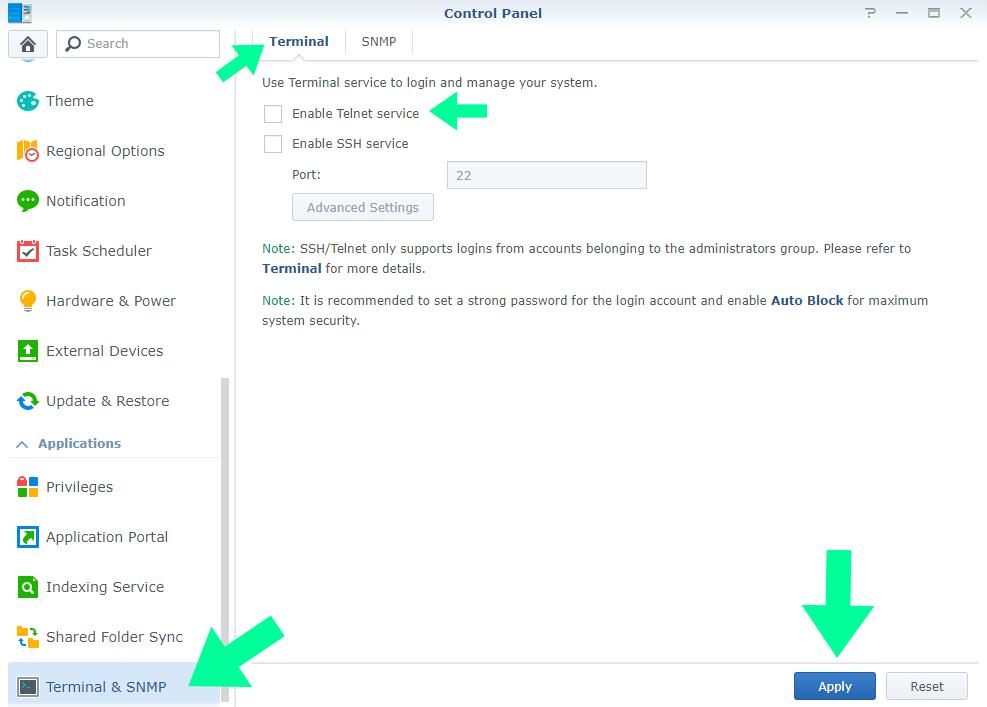 telnet synology service disable