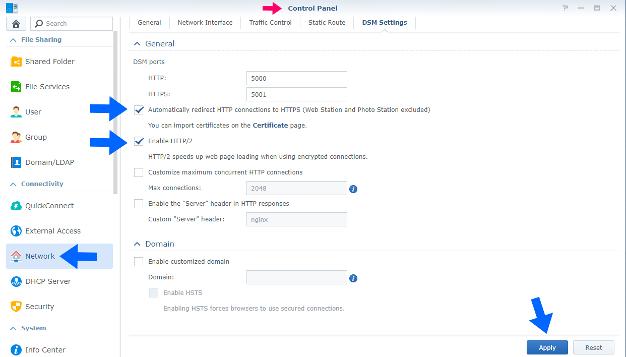 1 Synology Enable HTTPS redirect 5000 to 5001
