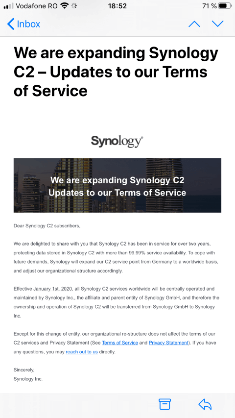 Mail from Synology Synology C2 From Synology GmbH to Synology Inc.