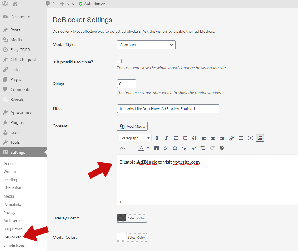 deblocker easy settings