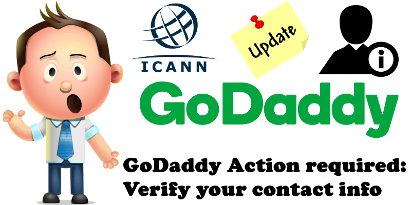 GoDaddy Action required Verify your contact info