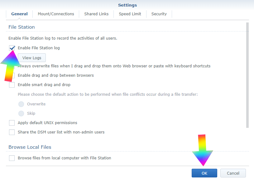 Shared logs Synology 2