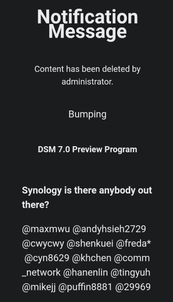 Synology post closed dsm 7.0 preview
