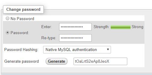 password generate phpmyadmin