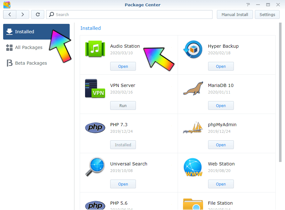 Synology stop packages
