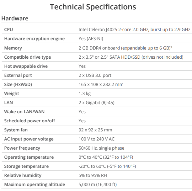 DS220+ Technical Specification