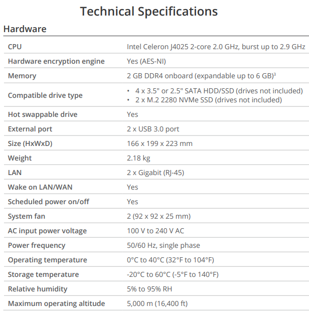 DS420+ Technical Specifications