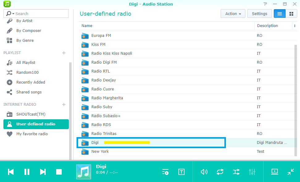 double click on radio station synology nas