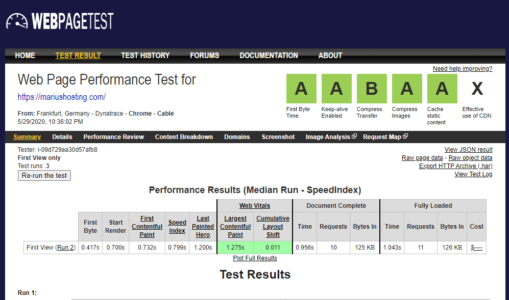 WEBPAGETEST speed test