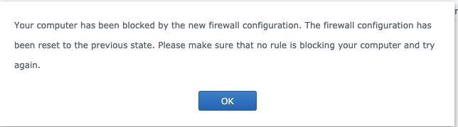 firewall blocked me synology