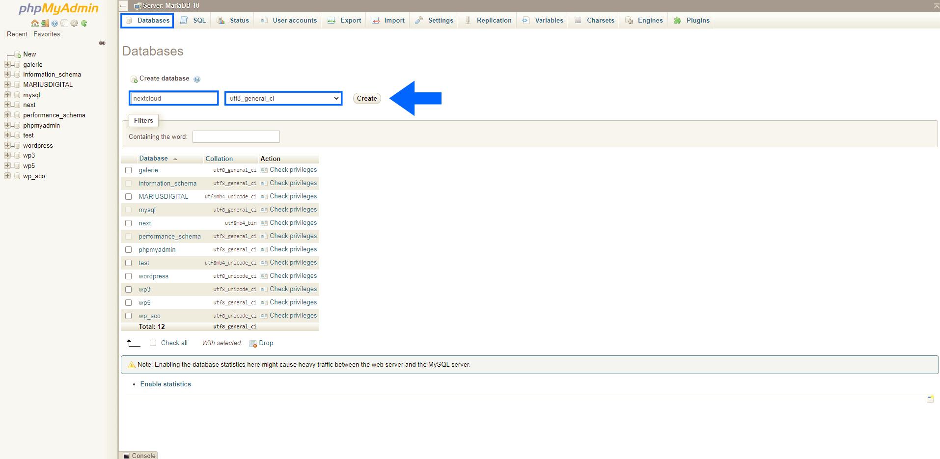 1 Synology NAS nextcloud DSM 7 create database phpMyAdmin
