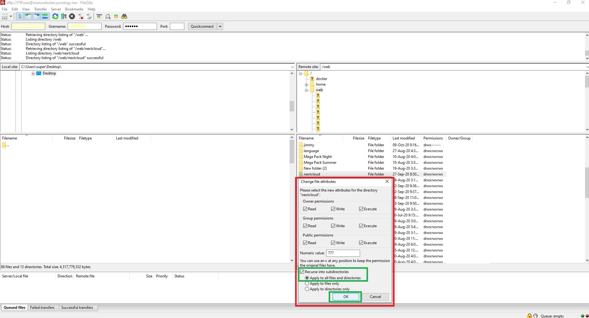 Change permissions nextcloud