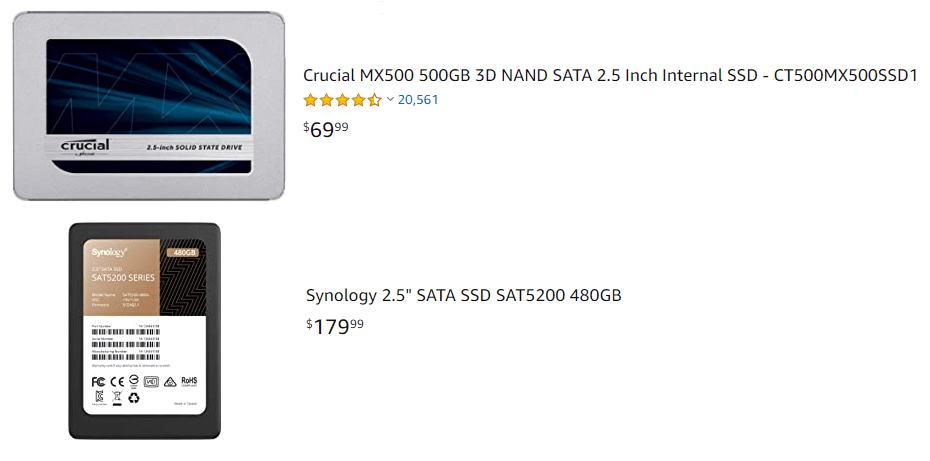 Synology SSD vs Crucial SSD price