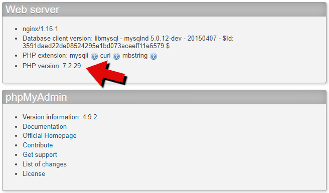 Synology phpMyAdmin dependencies on PHP 7.2