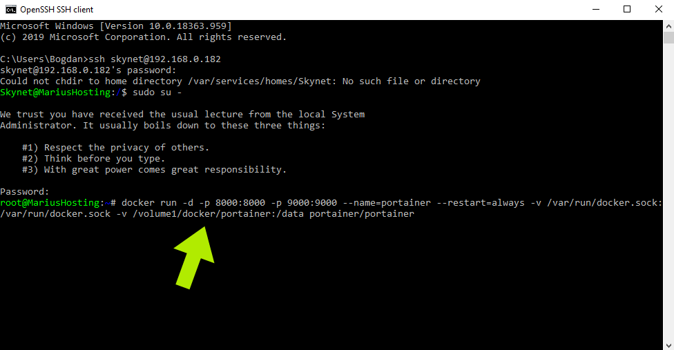 11 Portainer Synology Command Prompt