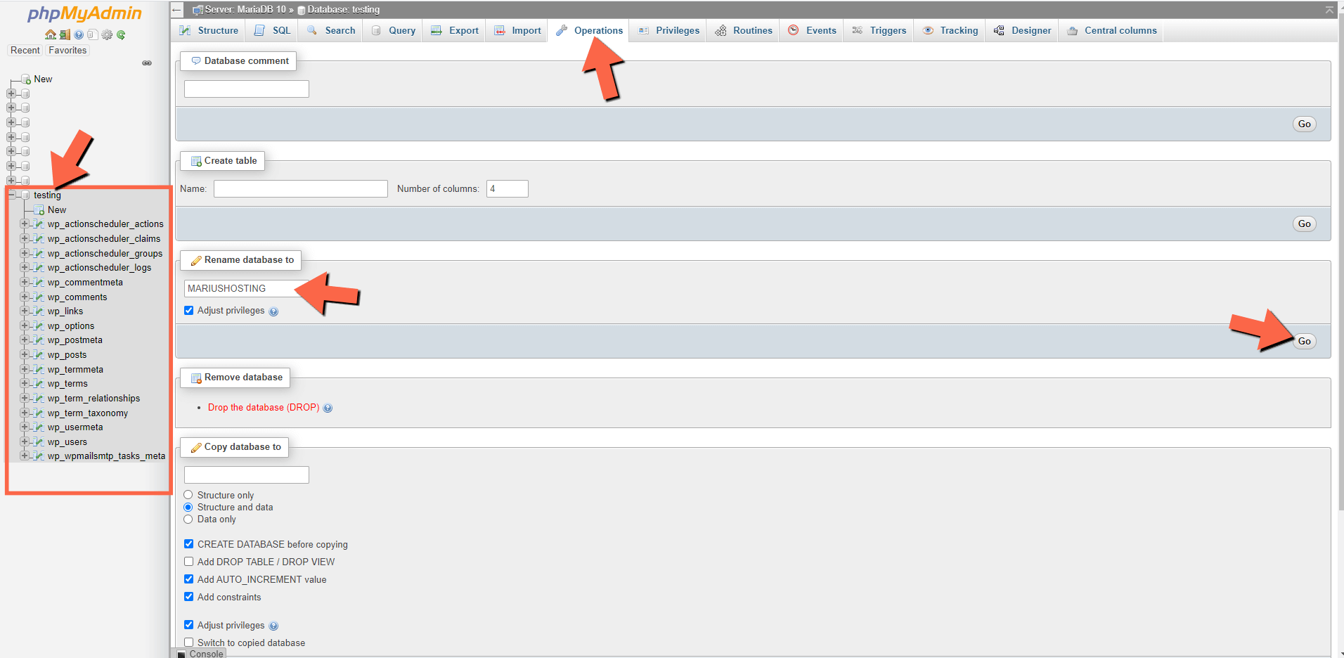 1 Synology phpMyAdmin rename database