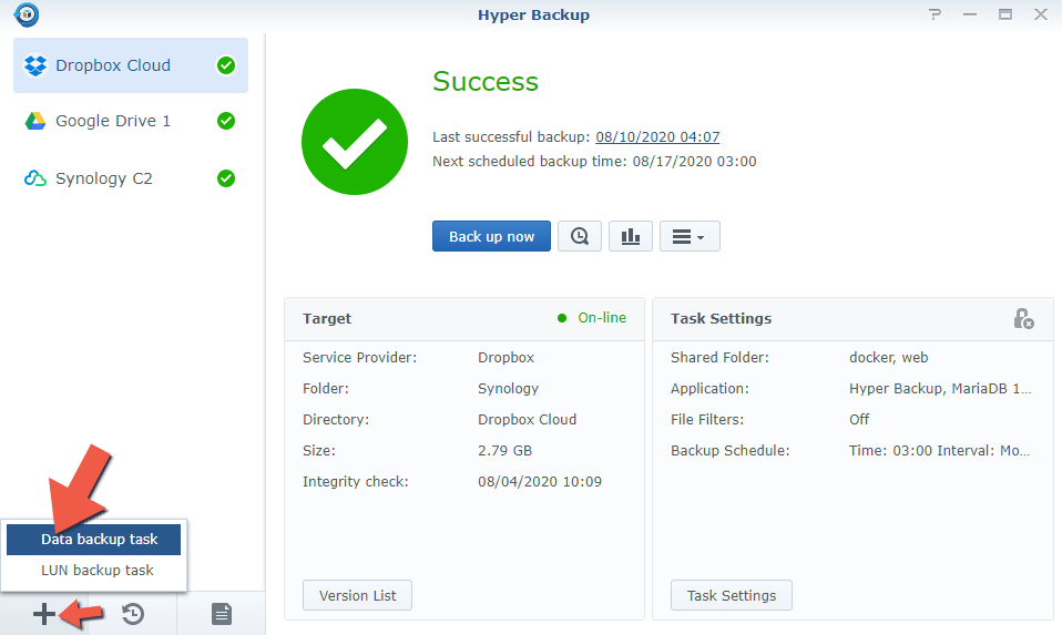 1.1 Synology Backup to Another NAS 1