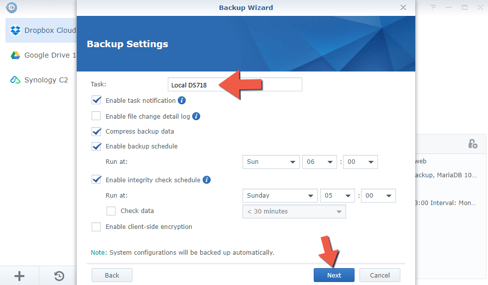 1.5 Synology Backup to Another NAS 1