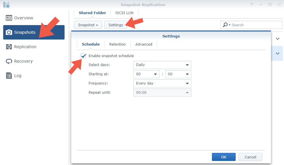 3.1 Synology configure setup Snapshot Replications