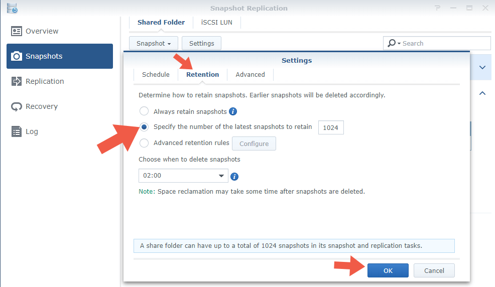 3.2 Synology configure setup Snapshot Replications