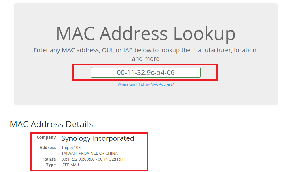 synology mac address