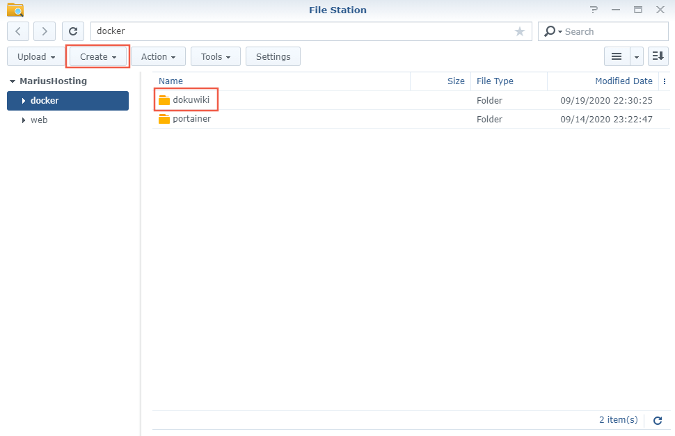 1 Synology NAS DokuWiki Docker container set up