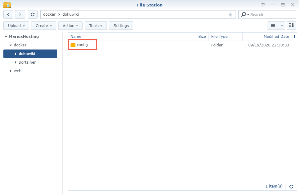 2 Synology NAS DokuWiki Docker container set up