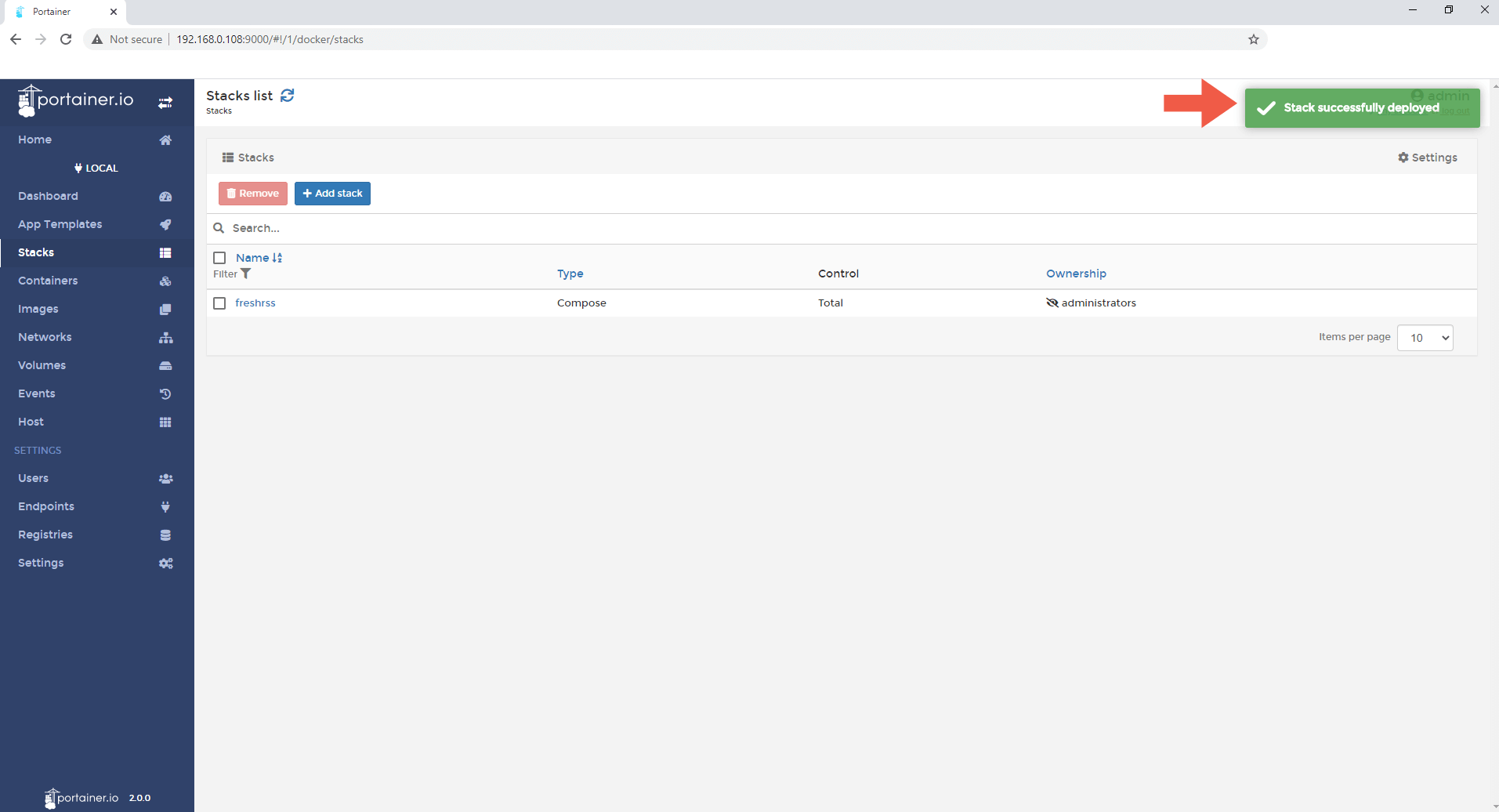 5 Synology NAS FreshRSS Docker container set up
