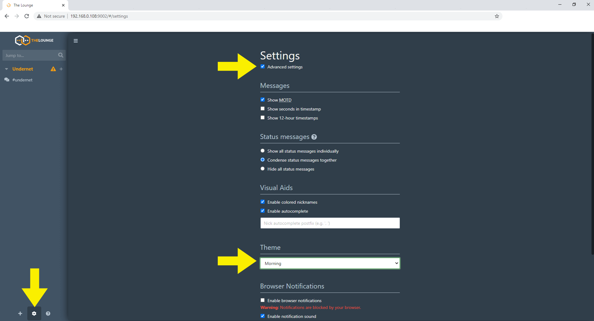 8 Synology NAS IRC Client TheLounge Docker container set up