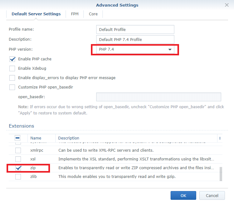 php 7.4 zip extension synology