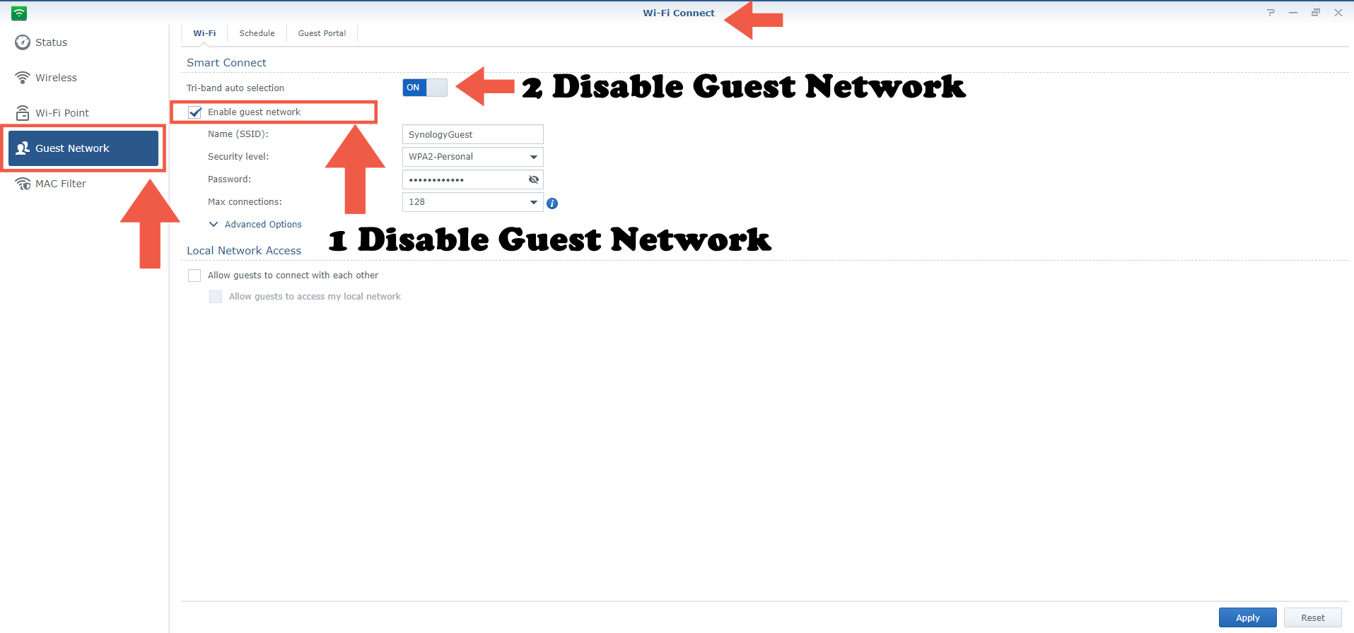 1 Synology RT2600ac disable guest network