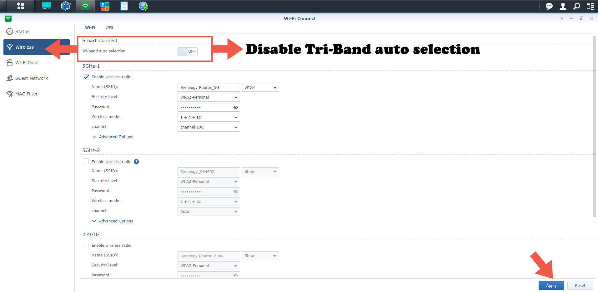 1 Synology RT2600ac disable tri-band