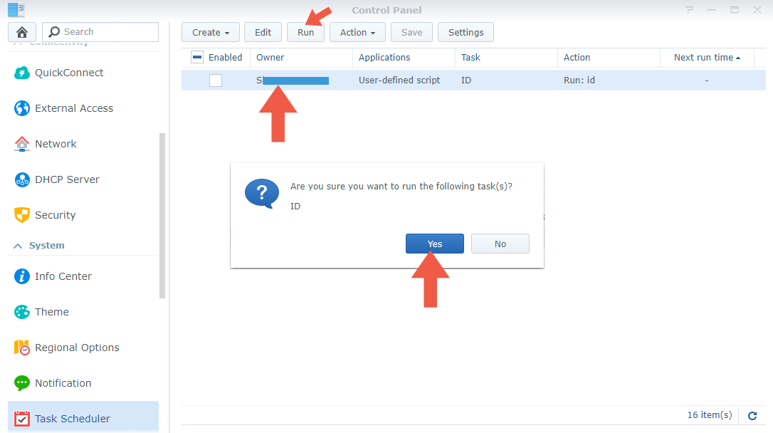 2 Synology Task Scheduler PUID PGID