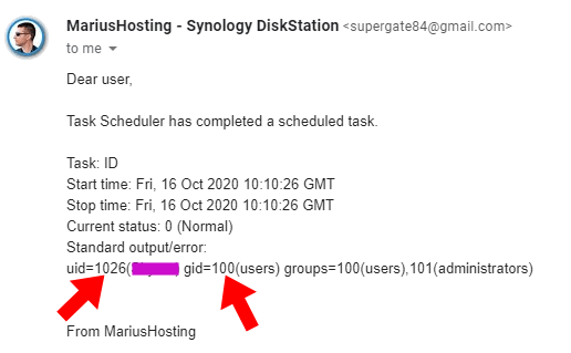 PGID PUID Synology email final STEP