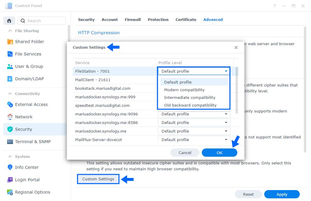 2 Synology NAS TLS SSL Profile Level