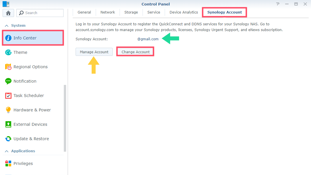 Change Synology Account DSM