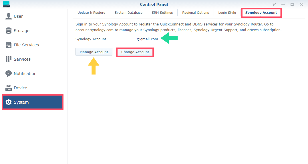 Change Synology Account SRM