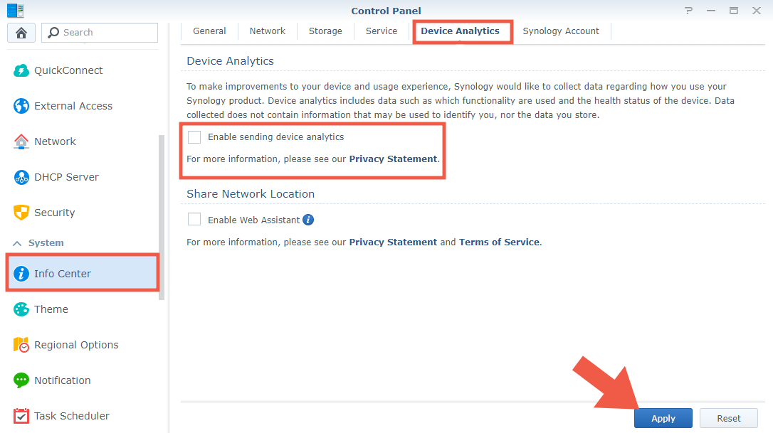 Synology DSM disable device analytics