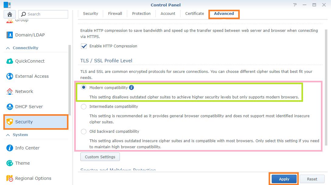 Synology TLS SSL Profile 1