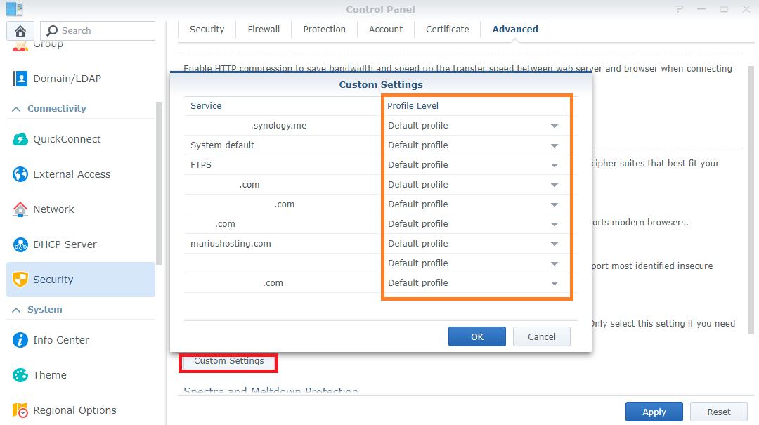 Synology TLS SSL Profile 2