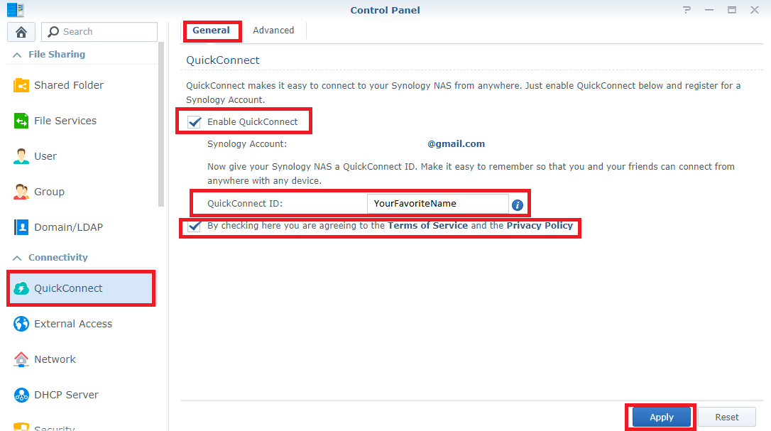 Synology change QuickConnect ID