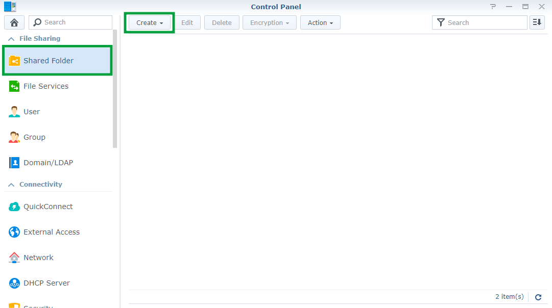 Synology create Shared Folder 1