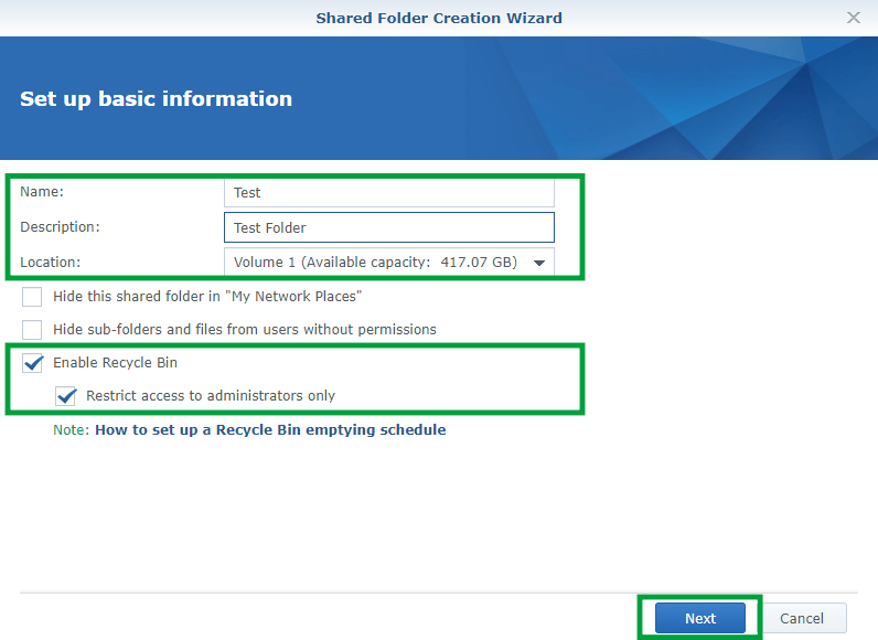 Synology create Shared Folder 2