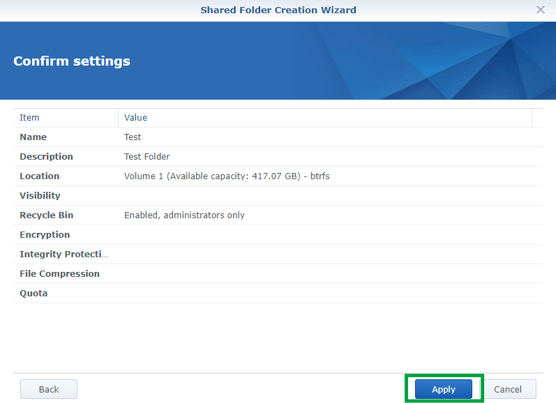 Synology create Shared Folder 5