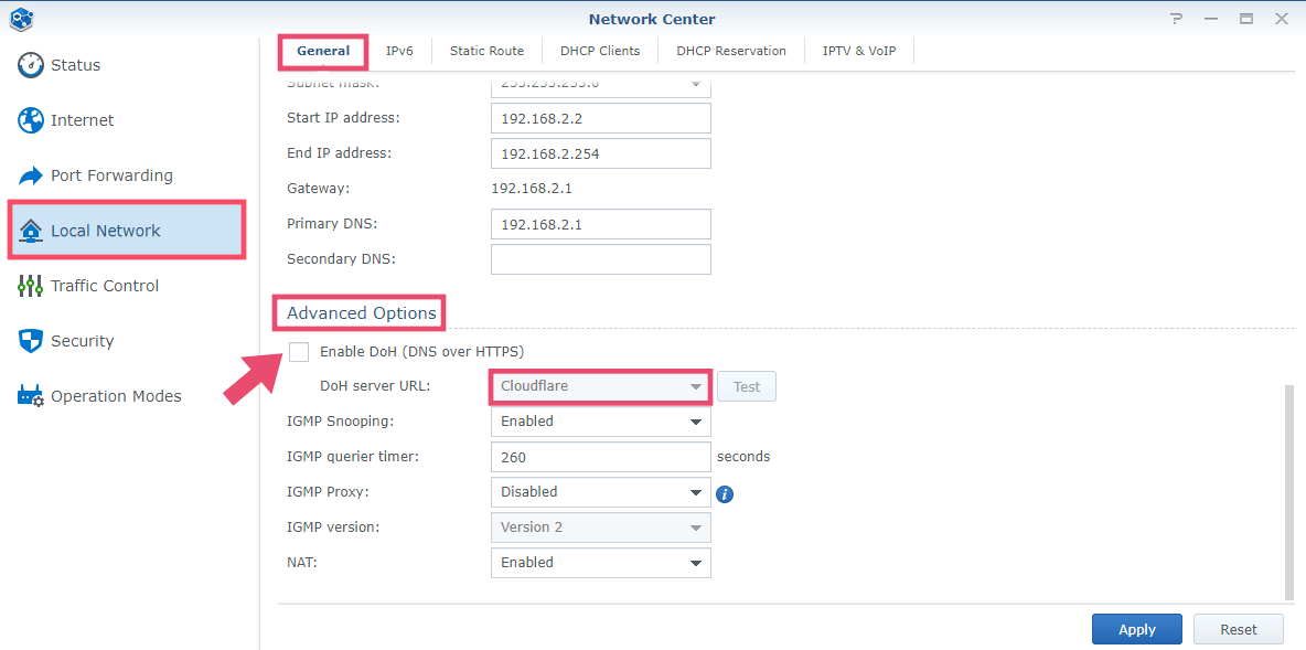 1 Synology DOH Router SRM