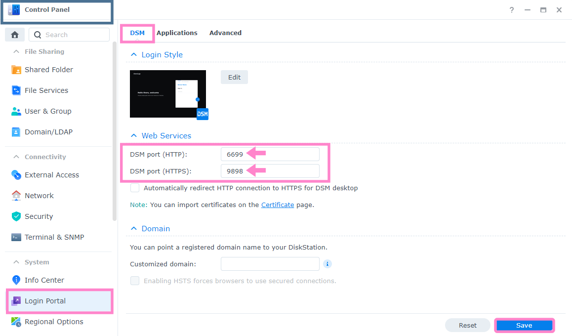 2 Synology change standard ports 5000 and 5001 in DSM 7