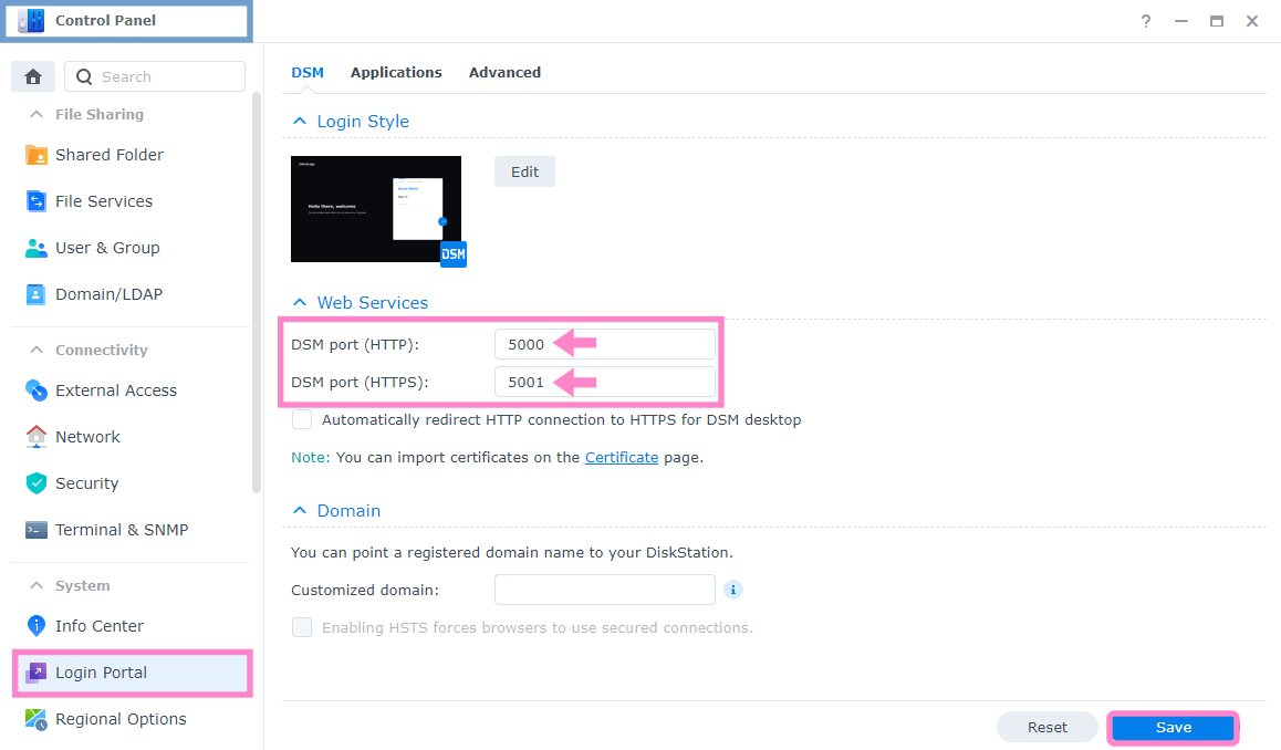 3 Synology change standard ports 5000 and 5001 in DSM 7