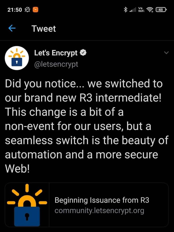 Let's Encrypt announcement on twitter