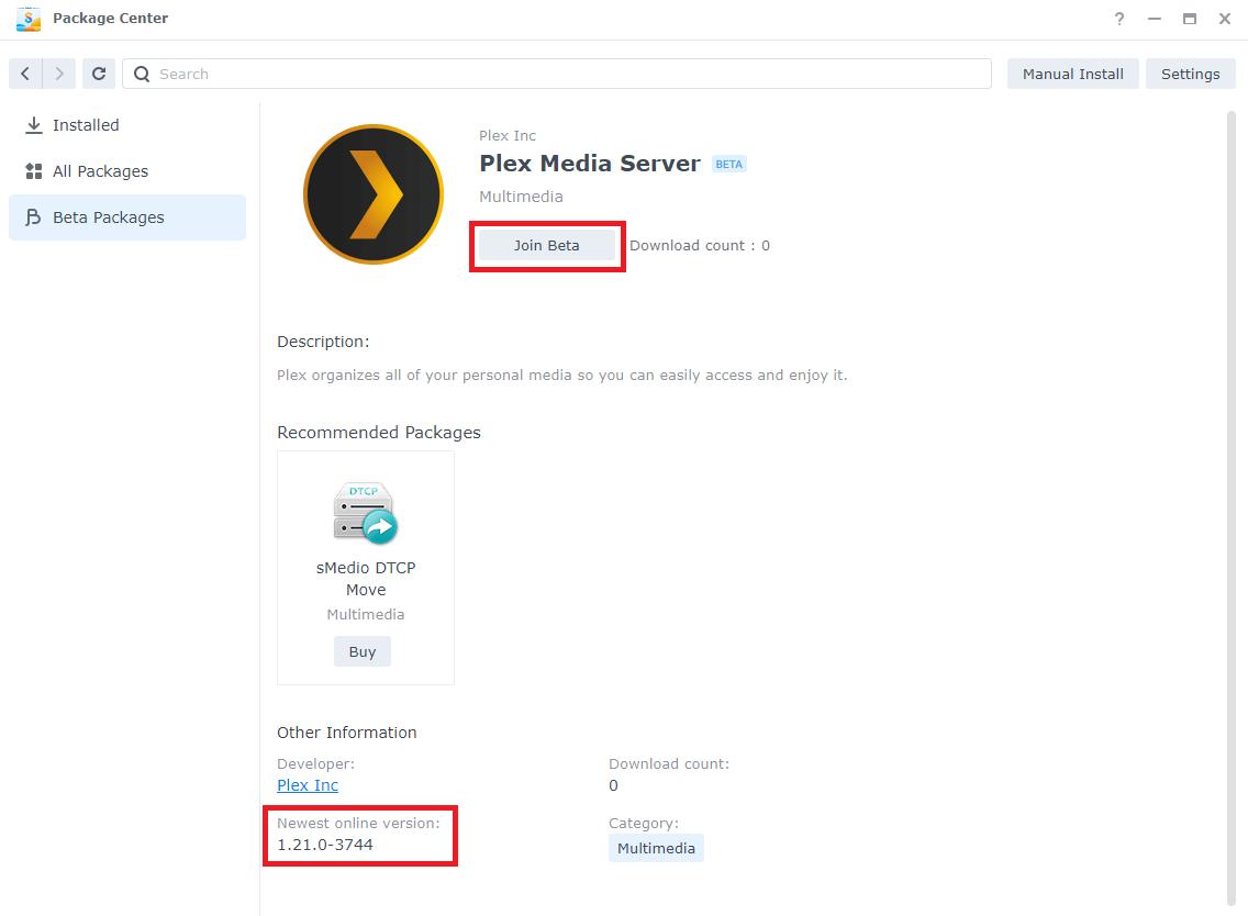New plex version 1.21.0-3744