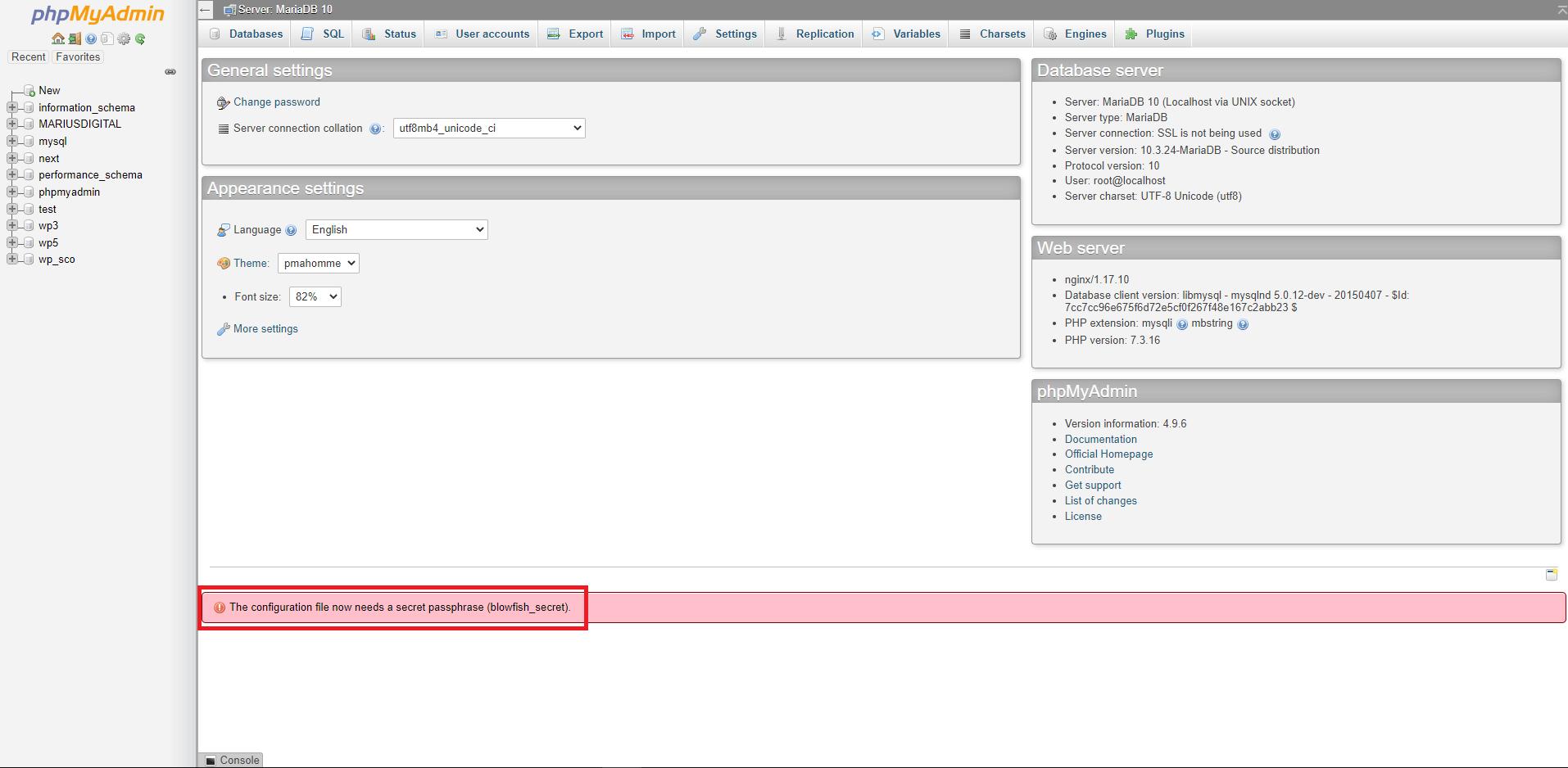 The configuration file now needs a secret passphrase (blowfish_secret)